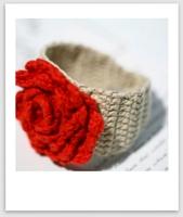 Handmade Crochet Bracelets Fashion flower Headwear 3D rose ivory red