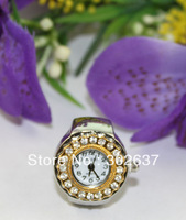 FREE SHIPPING 5PCS Silver Band Rhinestone Golden Ornate Round Ring Watches #22374