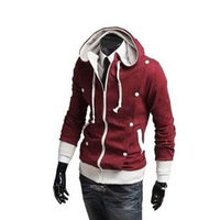 Free shipping,men hoodies,male fashion sweater,double fold button design cardigan,high-quality,three colors,sizeM-XXL, MWW031