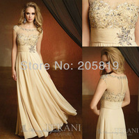 2013 New Arrival Short Sleeve Beading Chiffon Champagne Evening Long Gown, M1148