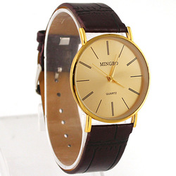 Golden Fashion Luxury Gentle Men&#39;s Man Leather Band Quartz Wrist Watches, Xmas Gifts, Free Shipping and Drop shipping(China (Mainland))
