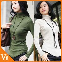 Free Shipping 2013 Korean autumn, winter Fashion Women Slim shirt high collar bottoming shirt plus size 4XL long-sleeved T-shirt