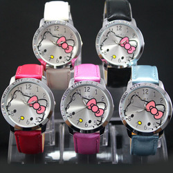 Wholesale 5pcs Fashion Hello Kitty Ladies Women&#39;s Girls Quartz Wrist Watches, Xmas Gifts, Free Shipping, K1-5(China (Mainland))