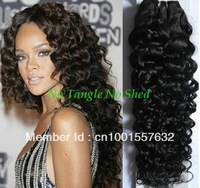 12+14+16+18 mix length deep wave brazilian virgin hair weft, no tangle no shed