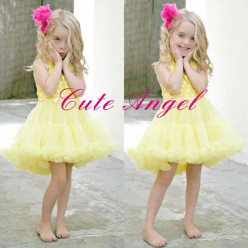 HOT-Selling High quality baby girls christmas tutu white dot yellow / pink dress kid's puff dresses Children's suspender dress