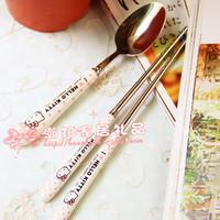 Hello kitty HELLO KITTY polka dot polka dot ceramic handle spoon chopsticks fork knife stainless steel tableware