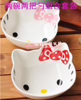 Hello kitty ceramic bowl kt HELLO KITTY bowl lovers 2 bowl 2 spoon set