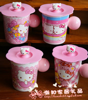 Hello kitty lovely glass belt lid coffee cup mug cup milk cup