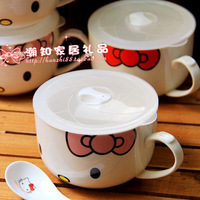 Hello kitty kt HELLO KITTY with lid handle instant noodles bowl ceramic bowl spoon