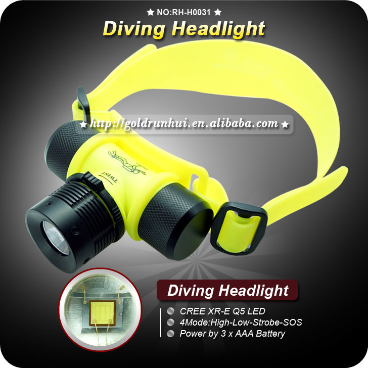 Mail Free + 3PCs Professional Headlamp for Diving CREE LED Waterproof Camping Hiking Fishing Comfortable Wear Diving Head Light(China (Mainland))