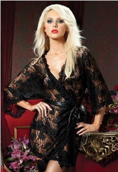 beautiful soft lace semi-flared ruffle half sleeve bathrobe sleepwear piece set sexy underwear Lingeries Free Shipping
