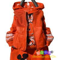 Jc2264 2012 autumn and winter new arrival cartoon cardigan female child thickening sports set girl piece set