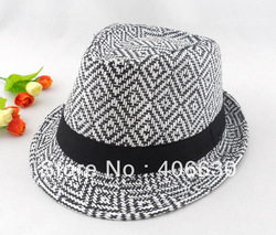 Adult unisex fedora hat & cap, stylish leisure, black stripe trilby hat with satin band, 10pcs/lot, Free Shipping by China post(China (Mainland))