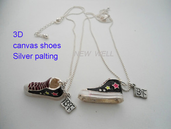 2013 Fashion Trendy style Canvas Shoes Best Friend Necklace Silver Plating Ball Chain Free shipping