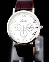 Brown Fashion Luxury Gentle Men's Man Analog Quartz Wrist Watches With PU Leather Belt, Free Shipping