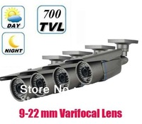 Free shipping 4pcs/lot For Sony CCD Effio-E 700TVL 9-22mm 36Leds IR CCTV Security Camera A19T