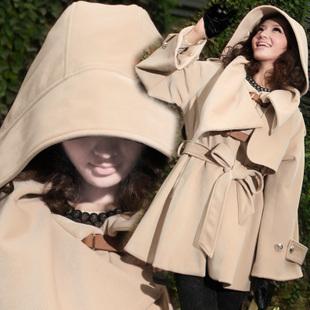 Hot Design ! Free shipping Women's Hoodies medium long woolen Trench Coat Jacket Cloak Woolen Coat Winter Outerwear