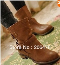 Women's shoes spring and autumn cotton-padded shoes fashion motorcycle boots martin boots low platform flatbottomed autumn and(China (Mainland))