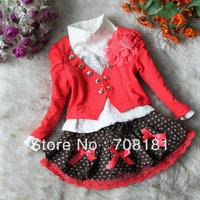 Free shipping 4pcs/lot Children's clothing suits baby girl's 3pcs sets flower jacket coat + T shirt + bow dot lace skirt