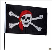 Halloween bar decorate a skull and crossbones pirates flagman wave flag black pirates of the Caribbean banner