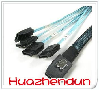 High quality New Mini SAS 4i SFF-8087 36P To 4 SATA 7P Cable  50cm 2pcs/lot