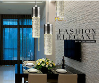3 -Light  modern Polished Chrome  Pendant light  and Crystal Bubble Glass  Free shipping!