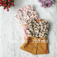 Free shipping 4pcs/lot Hot Children's dresses fashion Baby Girls' vest plush cut raddit leopard bow belt dress Tank Dress