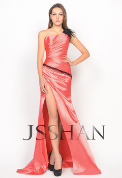 12P075 Feather One Shoulder Adornment Satin Split Side Prom Evening Dress Sexy Prom Dress