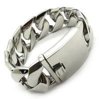 25mm Huge&Heavy Polish Curb Links Chain Bracelet Bangles Mens/Boys Biker Fashion Stainless Steel New Arrival