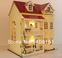 Free shipping, DIY 3D LED light Dream Home-mini doll house-wooden villas-Christmas Gift