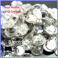 Free Shipping! 1440 pcs/Lot, ss10 (2.7-2.9mm) Good Quality  Crystal Clear Nail Art Glue On / Non Hotfix Rhinestones