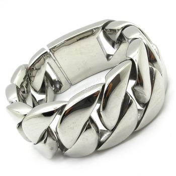 30mm Huge&Heavy Silver Bracelet Bangle Polish Mens Biker Chain Stainless Steel Motorbiker Jewelry Wholesale Price +Free Shipping