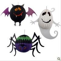 Halloween decoration property supplies pumpkin lantern solid ball bat ghost spider paper lantern