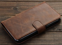 Brown Deluxe Leather Card Stand Flip Wallet Case for Samsung Galaxy Note 2 N7100