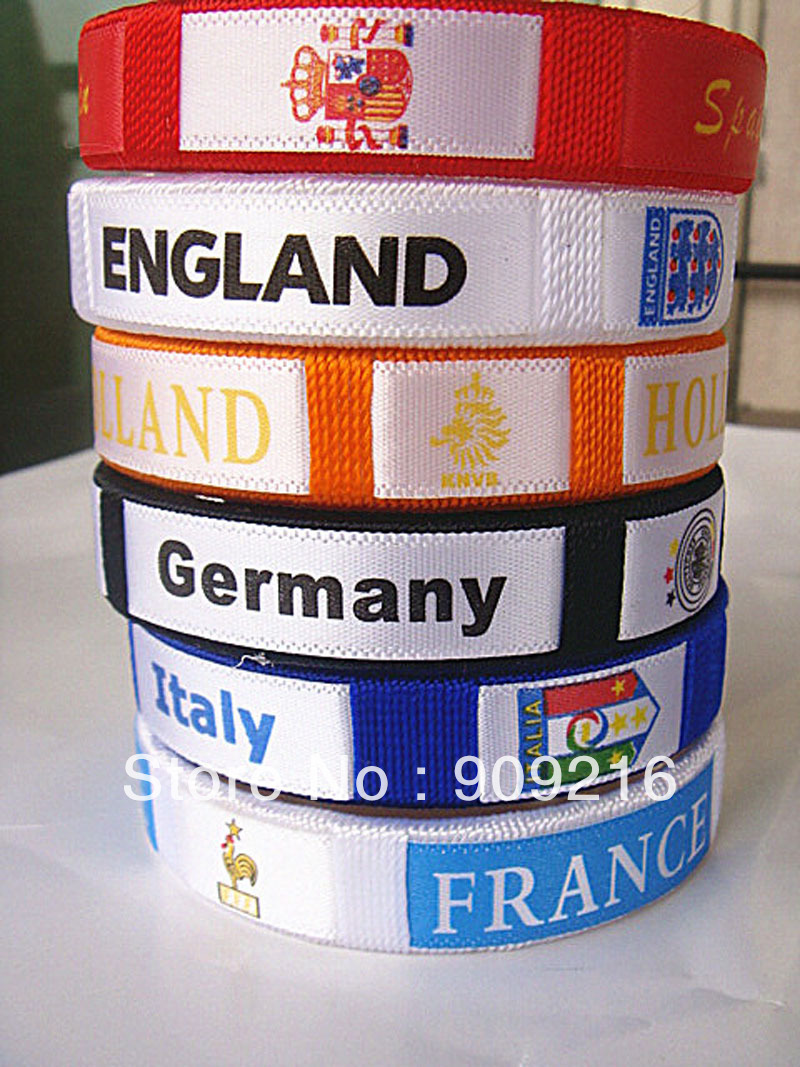 Wholesale-new arrival European 6 countries bracelet bangles ball soccer fan fashion wristband band for promotion 12pcs/lot(China (Mainland))