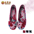 Free Shipping - Flowers Chinese style beijing cotton-made shoes flat heel cow muscle outsole embroidered Pretty Beautiful shoes