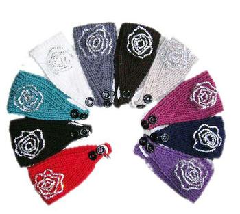 Best sale 2013 rhinestone flower Handmade headband Knit Headwrap crochet Headbands headwear new fashion 200pcs