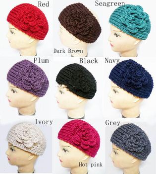 2013 Crochet Headwrap Head wrap Headband Ear warmer flower head wrap Mixed color Free shipping100pcs