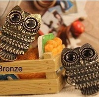 Min.order is $10 (mix order) 21D25  Fashion luxury retro black eye owl ring wholesale free shipping