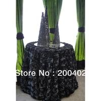 free shipping new desgin black satin rosette table cloth  for weddings decoration