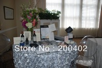 free shipping new desgin white satin rosette table cloth  for weddings decoration