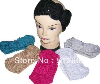 2013 bowknot Handmade Knit Headwrap headband crochet headbands 50pcs mix colors 50pcs
