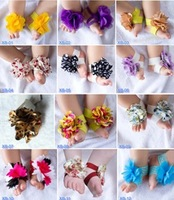 baby Barefoot Sandals baby flower shoes children shoes