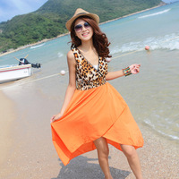 Beach dress short design one-piece dress bohemia sexy leopard print racerback dress female