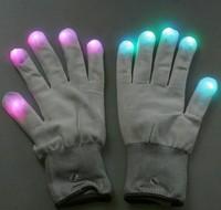 3pcs 7 Mode LED Rave Light Finger Lighting Flashing Gloves Glow Mitt White free ship