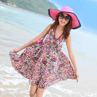 Bohemia suspender skirt one-piece dress skirt beach dress short design rayon floral print dress