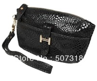 Fashion black snake cow leahter walletchange purse coin purse bag