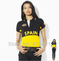 Free Shipping POLO T-Shirt ,100% cotton casual short sleeve collar shirt ,Countries flag style,Wholesale Women's Shirts BLWHSA