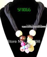 1pcs/lot, Fashion New Wholeslae And Retail Polyester Women Choker Beaded Black Scarf, Free Shipping