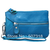 Fashion new blue cow leather wallet  multifunction purse change purse coin purse cardcase bag